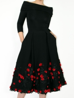 Black Bamboo Knit Off Shoulder Top and Ava Retro Skirt with Rosette Lace Overlay
