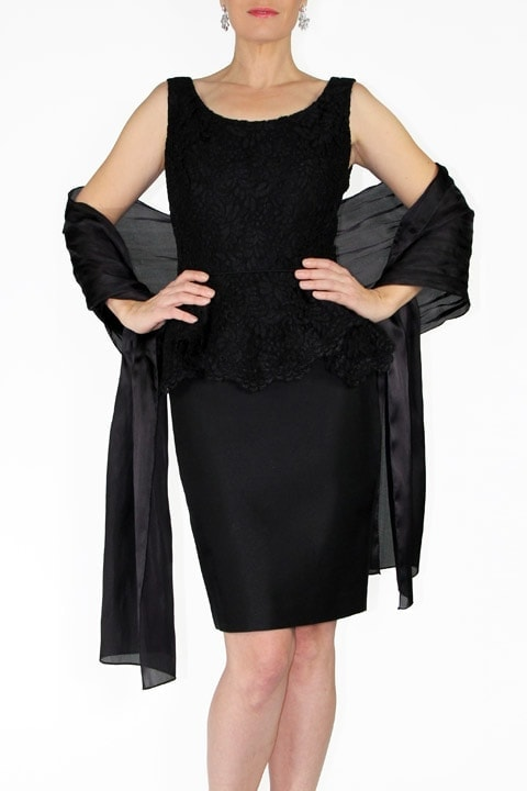 Black French Lace, Silk Wool Peplum Lieselotte Dress