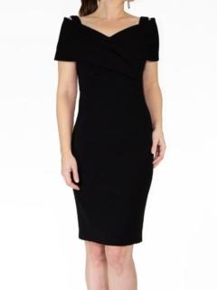 Black Japanese Crepe Portrait Collar Grace Dress