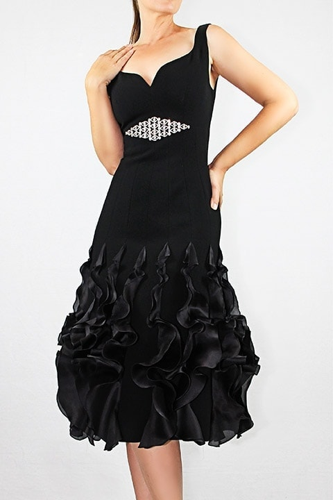 Black Japanese CrepeSilk Satin Organza Ruffle Hem Dress
