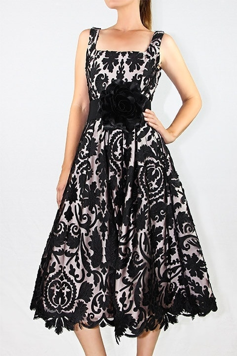 Black Laser Cut Lace Full Retro Dress