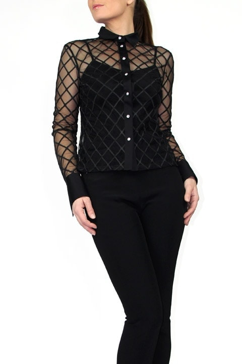 Black Window Pane French Cuff Blouse and Black Tech Stretch Cigarette Pant
