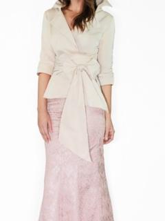 Blush Silk Taffeta Wrap Shirt, Champagne Lace Mermaid Skirt