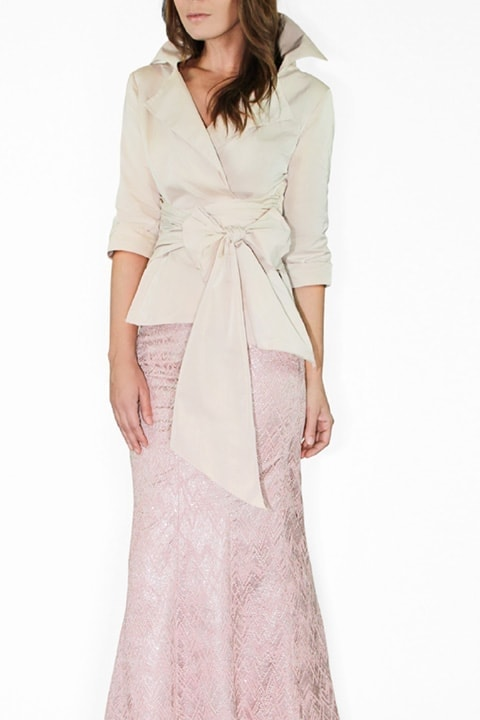 Blush Silk Taffeta Wrap Shirt, Champagne Lace Mermaid Skirt