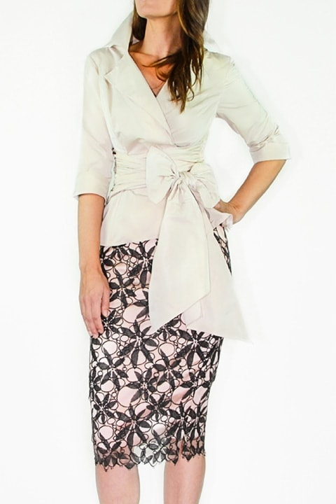 Blush Silk Taffeta Wrap Shirt, CharcoalBlush Lace Pencil Skirt