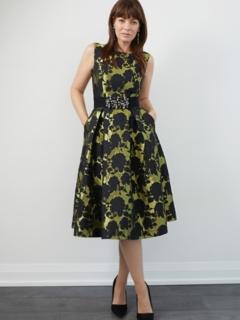 Chartreuse/Black Floral Brocade Retro Dress