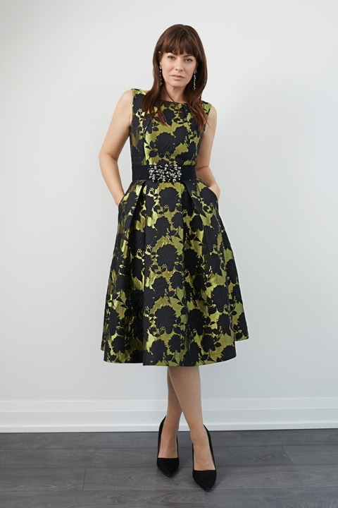 Chartreuse/Black Floral Brocade Retro Dress