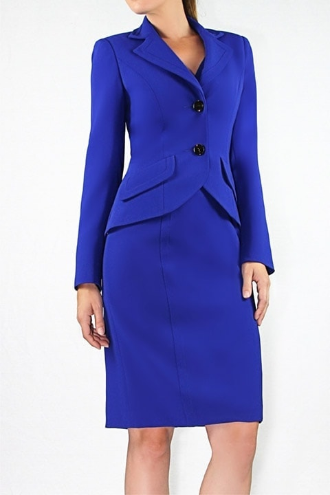 Cobalt Japanese Crepe Banded Jacket, V-neck Classic Sheath Dress