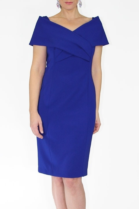 Cobalt Japanese Crepe Portrait Collar Grace Dress