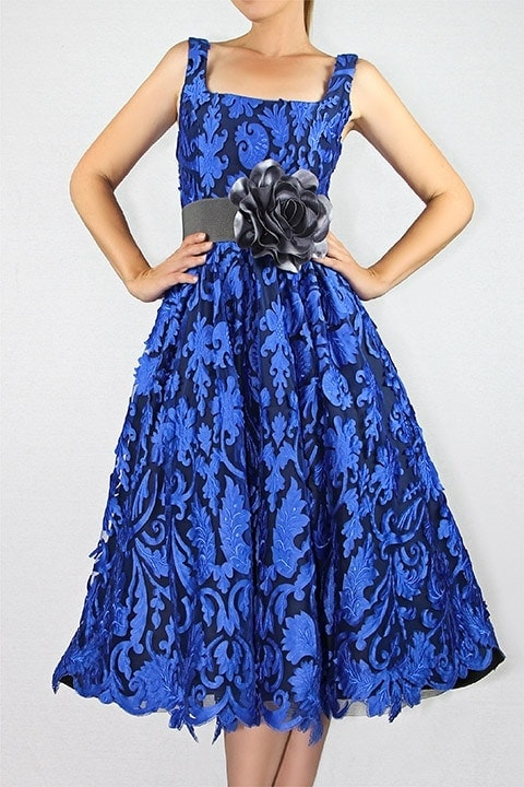 Cobalt Laser Cut Lace Full Retro Dress