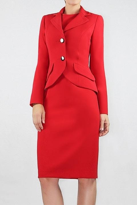 Crimson Japanese Crepe Banded Jacket, Signature Zip Sheath Dress
