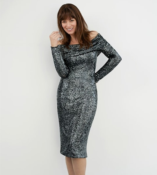 Anthracite Raindrop Sequin Off-Shoulder Sheath Dress