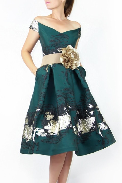 Forest Green Abstract Brocade Retro Dress