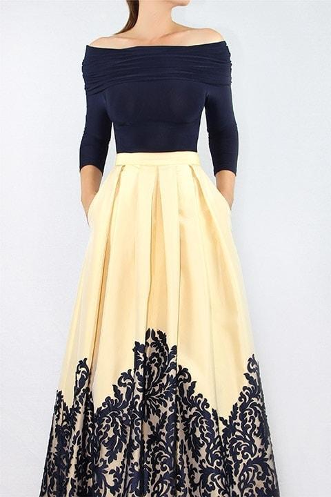 French Navy Italian Jersey TopButter Silk Taffeta & Lace Ballgown Skirt