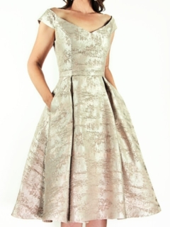 Harlow Champagne Abstract Brocade Off-Shoulder Retro Dress