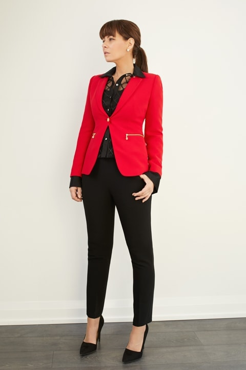 Lipstick Red Crepe One Button Jacket