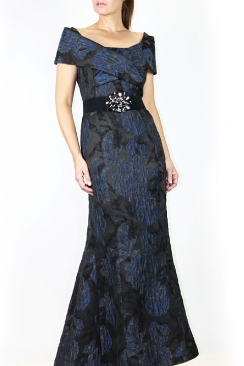 Navy Floral Brocade Portrait Collar Gown