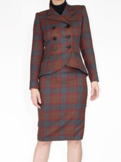 Nutmeg Houndstooth Double Breasted Blazer and Pencil Skirt