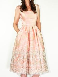 Peach JacquardLace Full Retro Dress