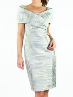 Platinum Italian Jacquard Portrait Collar Sheath Dress