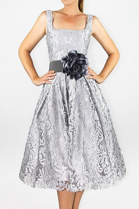 Silver Laser Cut Lace Full Retro Dress