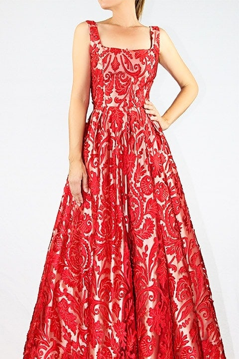 Crimson Laser Cut Lace Gown