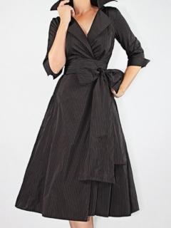 Crimson/Black Stripe Silk Memory Taffeta Classic Shirtdress