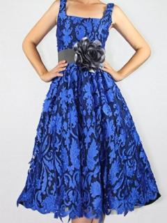 Cobalt Laser Cut Lace Full Retro Dress