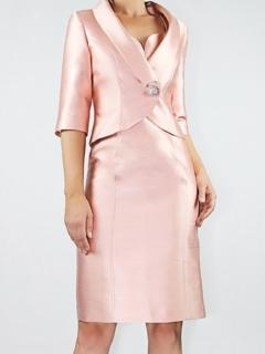Shell Pink Silk/Wool Shangtung Short Jacket/Sweetheart Neck Dress