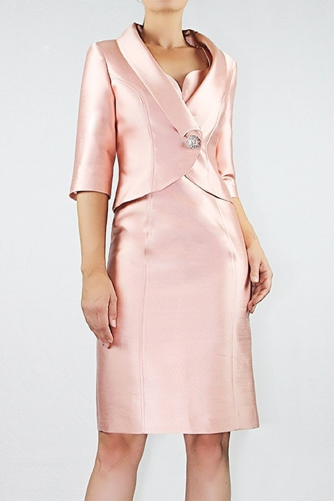 Shell Pink Silk/Wool Shangtung Short Jacket/Sweetheart Neck Dress