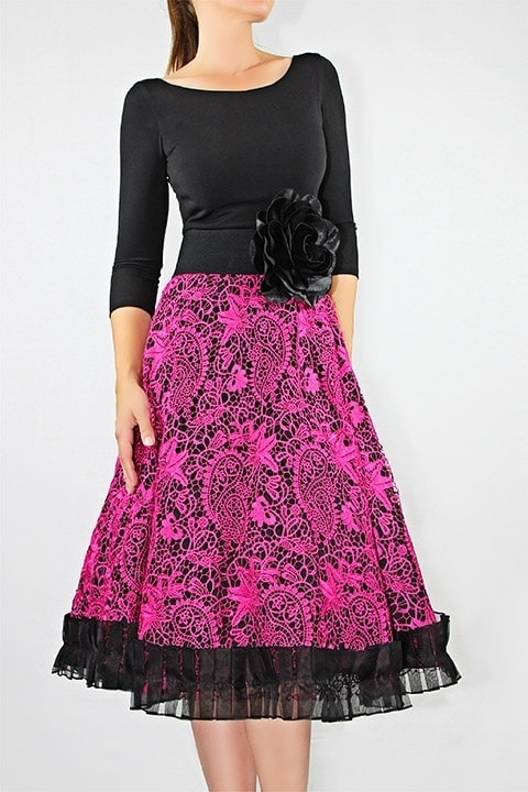 Black Jersey/Magenta Guipure Lace A-line Dress