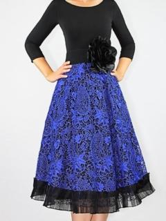 Jersey/Cobalt Guipure Lace A-Line Dress