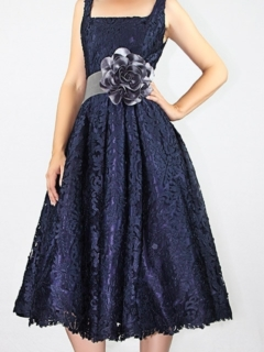 Navy Laser Cut French Lace Full Retro Dress