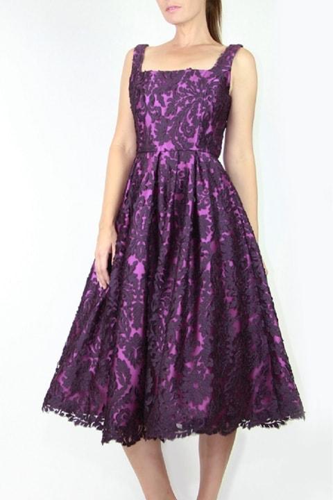 Amethyst Floral Brocade Portrait Collar Gown