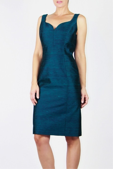 Teal Pleated Sheath Dress