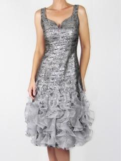 Silver Marble Brocade Ruffle Hem Dress