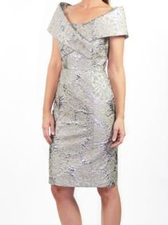 Platinum Silk Brocade Portrait Collar Dress