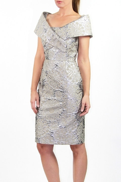 Platinum Silk Brocade Portrait Collar Dress