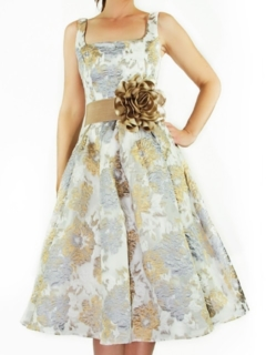 Organza Floral French Jacquard Full Retro Dress