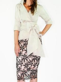 Blush Silk Taffeta Wrap Shirt, Charcoal/Blush Lace Pencil Skirt