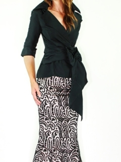 Black Silk Taffeta Wrap Shirt, Black/Blush Lace Mermaid Skirt
