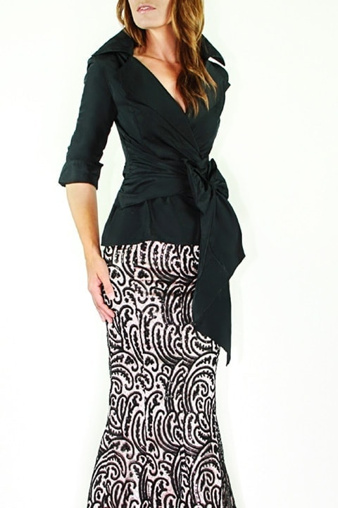 Black Silk Taffeta Wrap Shirt, Black/Blush Lace Mermaid Skirt