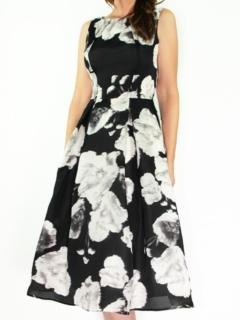 Black/Ivory Silk Organza Full Retro Dress