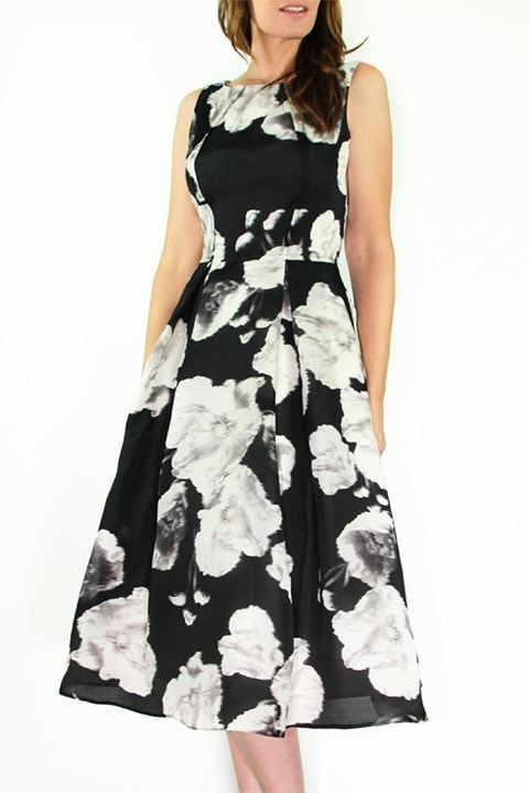 Black/Ivory Silk Organza Full Retro Dress