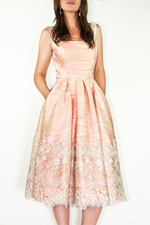 Peach Jacquard/Lace Full Retro Dress