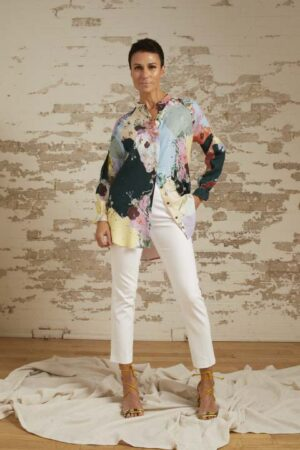 Aurora Painterly Print Tunic and Avery Cigarette Pant
