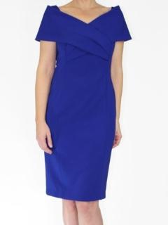 Cobalt Japanese Crepe Portrait Collar Grace Dress