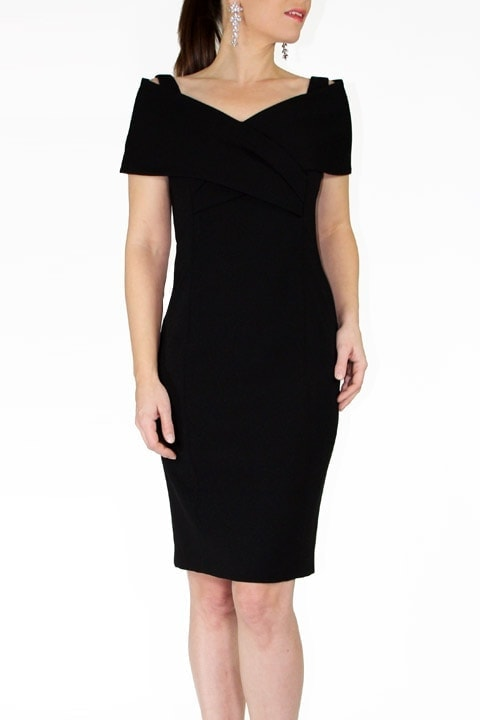 Black Japanese Crepe Portrait Collar  Grace Dress