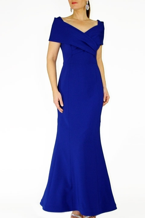 Cobalt Japanese Crepe Portrait Collar Grace Gown