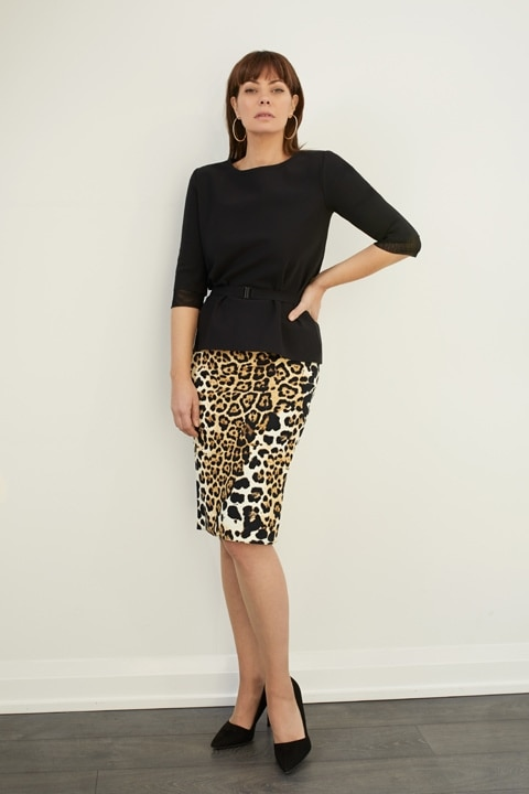 SPRING 2020 SHAN Belted Top and Cheetah Scuba Jersey Pencil Skirt